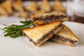 Mushroom Toast Triangles | Catered Christmas Party